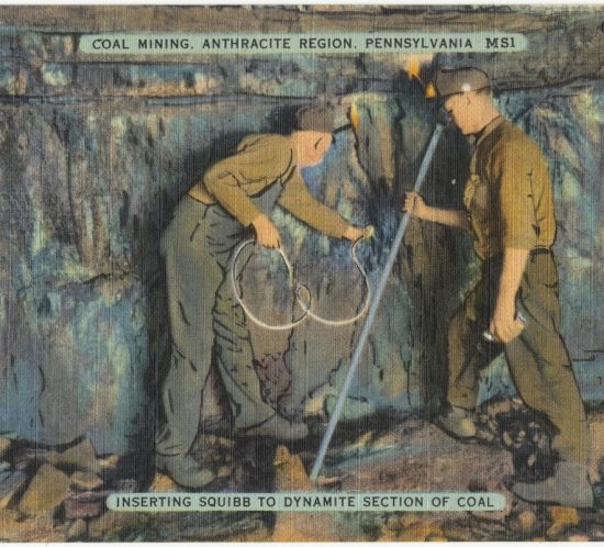 Coal mining, Anthracite Region, Pennsylvania. Inserting squibb to dynamite section of coal. 1930