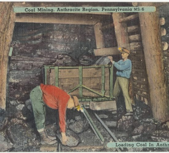 Coal mining, Anthracite Region, Pennsylvania. Loading coal in Anthracite Mine. 1930