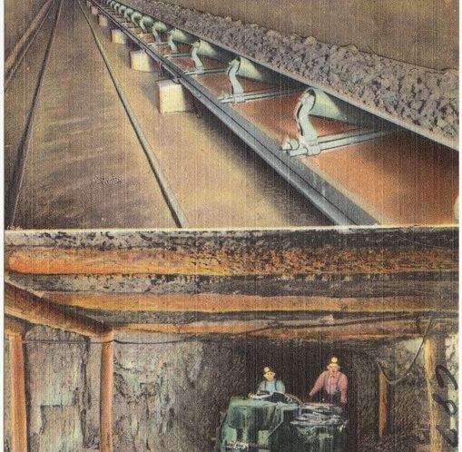 Longest underground belt conveyor in the world, Frick Coal Mines, Fayette County, Pa.; Coal cutting machine, Frick Mine, Fayette County, Pa. 1930