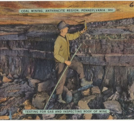 Coal mining, Anthracite Region, Pennsylvania. Testing for gas and inspecting roof of mine. 1930