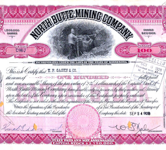 NORTH BUTTE MINING COMPANY 100 SHARES VINTAGE STOCK CERTIFICATE 1928
